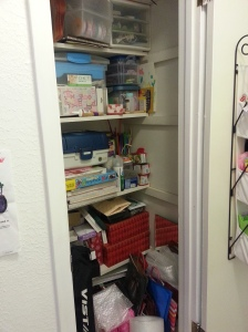 My hall closet/craft storage before ....