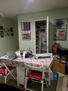 "The ""crafting only"" table and closet that used to be a dining room/breakfast table area."