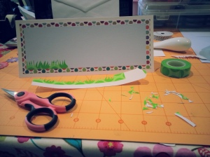 Cutting washi tape grass...fun fun fun...lol